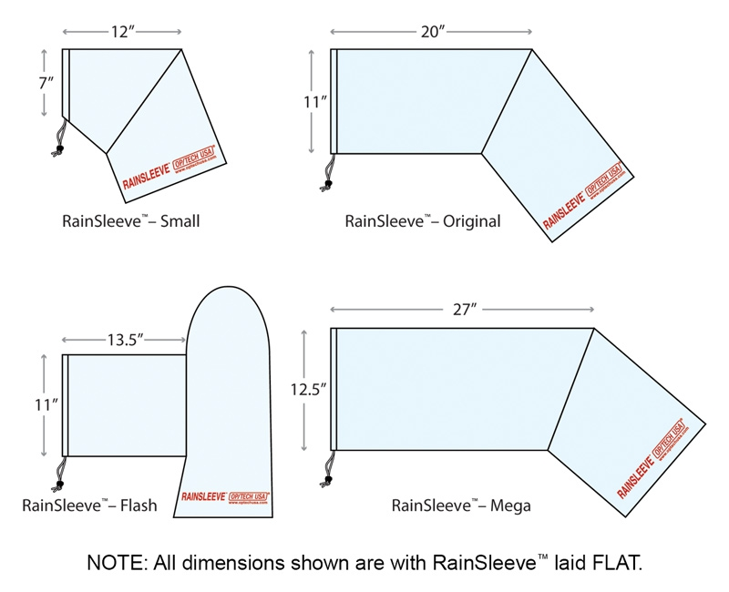 Rainsleeve dimensions shown with Rainsleeves laid flat