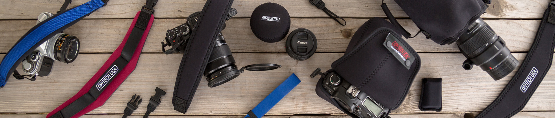 OP/TECH USA straps and pouches to fit cameras and lenses